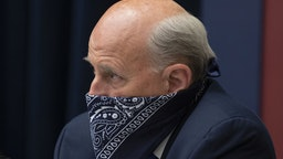 "Representative Louie Gohmert, a Republican from Texas, wears a bandanna during a House Natural Resources Committee hearing in Washington, D.C., U.S., on Monday, June 29, 2020. The hearing is titled ""U.S. Park Police Attack on Peaceful Protesters at Lafayette Square Park."" Photographer: Michael Reynolds/EPA/Bloomberg via Getty Images"