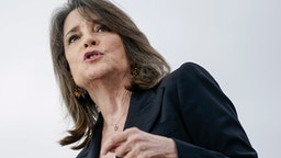 AUSTIN, TX - FEBRUARY 23: Marianne Williamson speaks as she endorses Democratic presidential candidate Sen. Bernie Sanders (I-VT) during a campaign rally at Vic Mathias Shores Park on February 23, 2020 in Austin, Texas. With early voting underway in Texas, Sanders is holding four rallies in the delegate-rich state this weekend before traveling on to South Carolina. Texas holds their primary on Super Tuesday March 3rd, along with over a dozen other states.