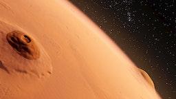 Olympus Mons, Mars, computer illustration.