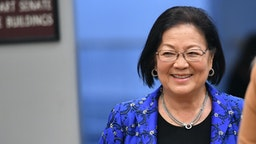 Senator Mazie Hirono(L) (D-HI) arrives during the impeachment trial of US President Donald Trump on Capitol Hill January 29, 2020, in Washington, DC. - The fight over calling witnesses to testify in President Donald Trump's impeachment trial intensified January 28, 2020 after Trump's lawyers closed their defense calling the abuse of power charges against him politically motivated. Democrats sought to have the Senate subpoena former White House national security advisor John Bolton to provide evidence after leaks from his forthcoming book suggested he could supply damning evidence against Trump.