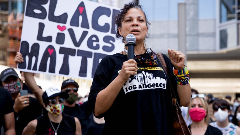 Melina Abdullah participates in the Hollywood talent agencies march to support Black Lives Matter protests on June 06, 2020 in Beverly Hills, California. (Photo by Rich Fury/Getty Images)