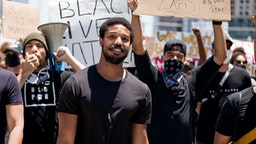 BEVERLY HILLS, CALIFORNIA - JUNE 06: Michael B. Jordan participates in the Hollywood talent agencies march to support Black Lives Matter protests on June 06, 2020 in Beverly Hills, California.
