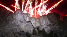 Fireworks explode during an event at Mount Rushmore National Memorial in Keystone, South Dakota, U.S., on Friday, July 3, 2020. The early Independence Day celebration, which will feature a military flyover and the first fireworks in more than a decade, is expected to include about 7,500 ticketed guests who won't be required to wear masks or socially distance despite a spike in U.S. coronavirus cases. Photographer: Al Drago/Bloomberg