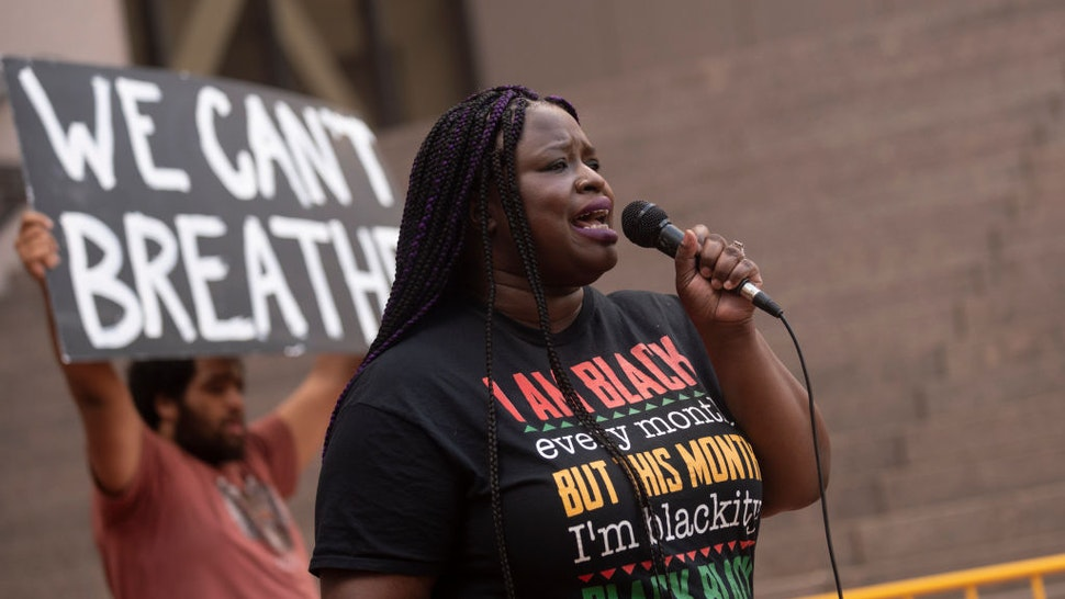 Nekima Levy Armstrong, civil rights lawyer and former candidate for Minneapolis Mayor, speaks at a rally outside the Hennepin County Government Center on June 11, 2020 in Minneapolis, Minnesota. The demonstration called for police reform and justice for George Floyd who was killed by members of the Minneapolis Police Department on May 25. (Photo by Stephen Maturen/Getty Images)