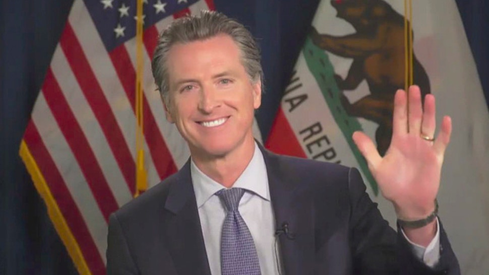 LOS ANGELES - JUNE 17: James chats with California Governor Gavin Newsom from his garage on THE LATE LATE SHOW WITH JAMES CORDEN, scheduled to air Wednesday June 17, 2020 (12:37-1:37 AM, ET/PT) on the CBS Television Network. Image is a screen grab.