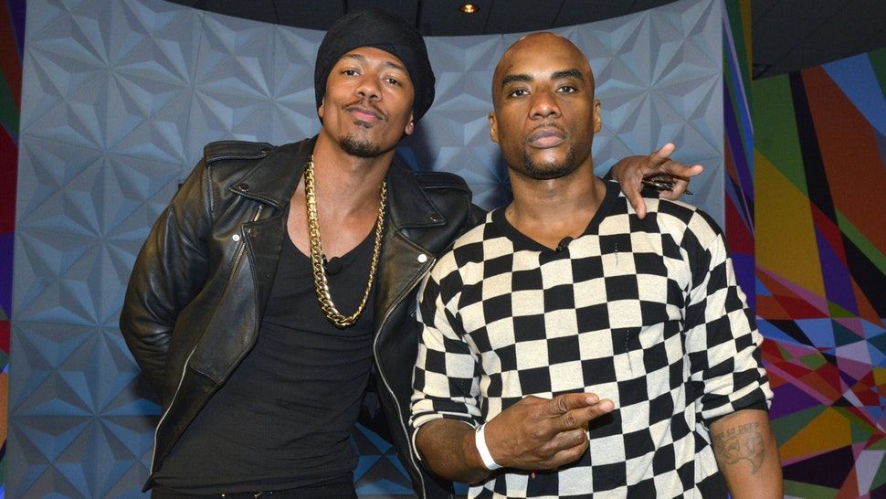 LOS ANGELES, CA - JUNE 24: Nick Cannon (L) and Charlamagne Tha God at day one of Genius Talks, sponsored by AT&T, during the 2017 BET Experience at Los Angeles Convention Center on June 24, 2017 in Los Angeles, California.