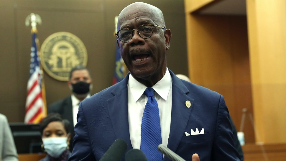 ATLANTA, GEORGIA - JUNE 17: Fulton County District Attorney Paul L. Howard Jr. announces 11 charges against former Atlanta Police Officer Garrett Rolfe on June 17, 2020 in Atlanta, Georgia.Rolfe is charged with felony murder of Rayshard Brooks, 27, on June 12while chasing Brooks after a struggle during a field sobriety test in a Wendy's restaurants parking lot.