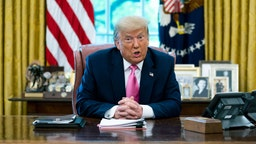 NYTUNREST - President Donald Trump makes remarks and he meets with GOP members of Congress and members of his cabinet in the Oval Office, Monday, July 20, 2020. ( Photo by Doug Mills/The New York Times)