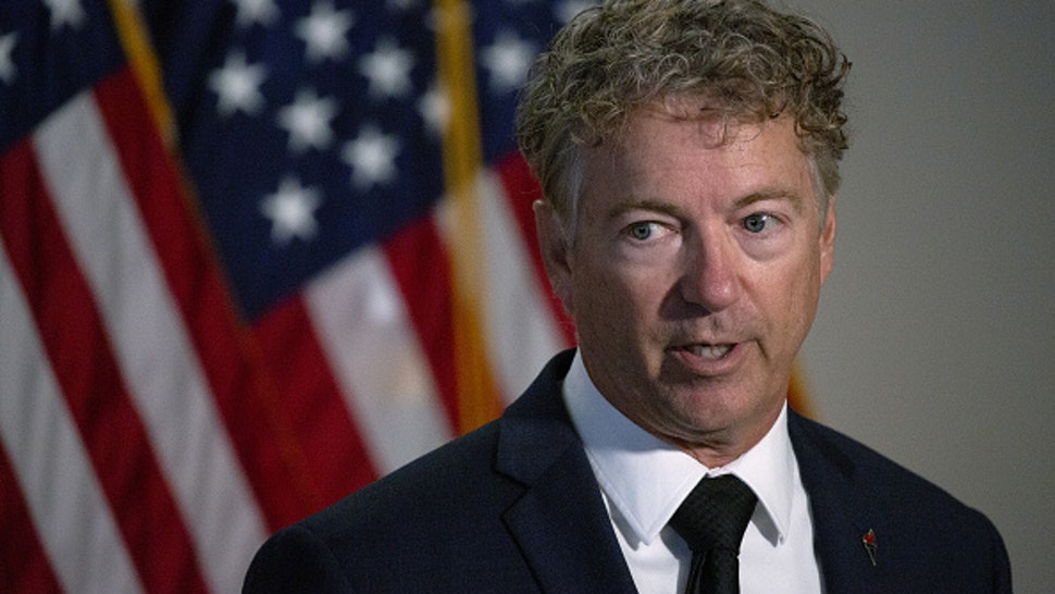 Senator Rand Paul, a Republican from Kentucky, speaks during a news conference after the Senate Republican policy luncheon on Capitol Hill in Washington, D.C., U.S., on Tuesday, July 21, 2020. The White House and Congress have only a few weeks to come up with another stimulus to prevent the economic rout caused by the coronavirus from deepening as the outbreak is surging across the country.