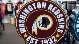 Washington Redskins merchandise is seen for sale at a sports store in Fairfax, Virginia on July 13, 2020. - The Washington Redskins confirmed on July 13 that the team is changing its name following pressure from sponsors over a word widely criticized as a racist slur against Native Americans.
