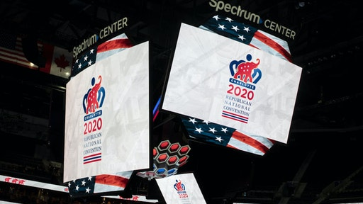 2020 Republican National Convention (RNC) signage is displayed inside the Spectrum Center during a media walk-through in Charlotte, North Carolina, U.S., on Tuesday, Nov. 12, 2019. The 2020 RNC will be held at the Spectrum Center from August 24-27.