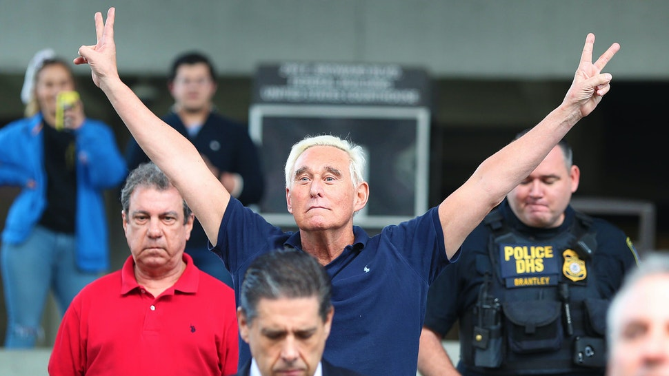 FORT LAUDERDALE, FLORIDA - JANUARY 25: Roger Stone, a former advisor to President Donald Trump, exits the Federal Courthouse on January 25, 2019 in Fort Lauderdale, Florida. Mr. Stone was charged by special counsel Robert Mueller of obstruction, giving false statements and witness tampering.