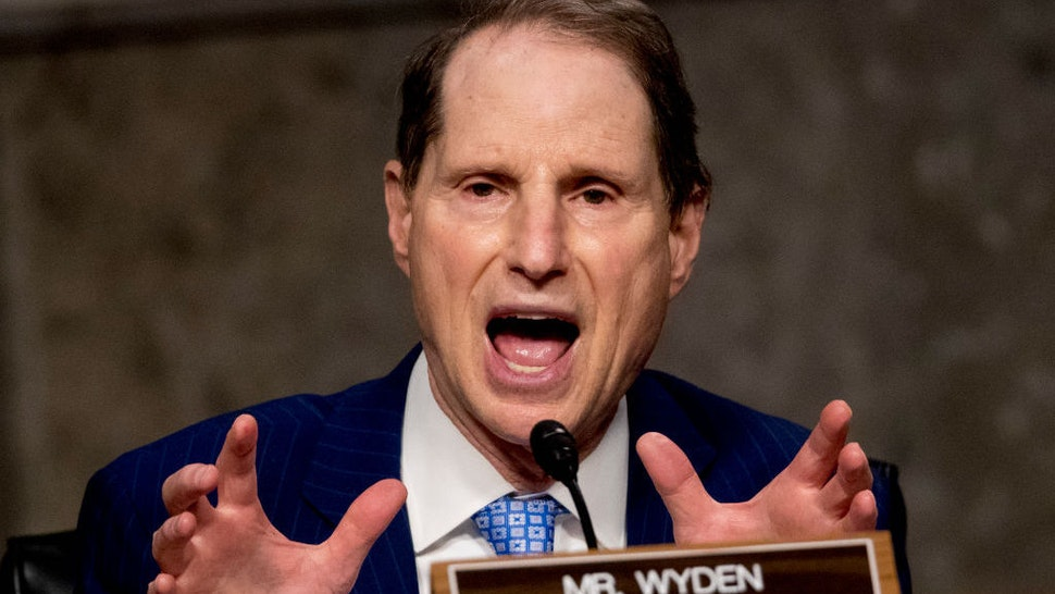 WASHINGTON, DC - JUNE 17: Ranking Member Sen. Ron Wyden, D-Ore., speaks as U.S. Trade Representative Robert Lighthizer appears at a Senate Finance Committee hearing on U.S. trade on Capitol Hill, on June 17, 2020, in Washington DC. (Photo by Andrew Harnik-Pool/Getty Images)