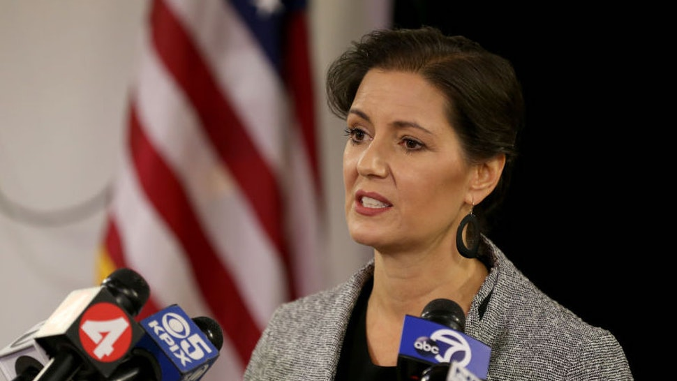 Mayor Libby Schaaf provides an update on the current strike by city workers from the city's Emergency Operations Center in Oakland, Calif., on Friday, Dec. 8, 2017.