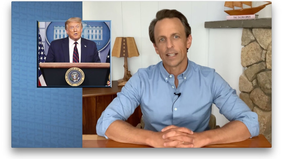 LATE NIGHT WITH SETH MEYERS -- Episode 1015A -- Pictured in this screen grab: Host Seth Meyers during the monologue on July 22, 2020 -- (Photo by: NBC/NBCU Photo Bank via Getty Images)