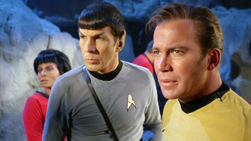 "From left: Nichelle Nichols as Lt. Nyota Uhura, Leonard Nimoy as Mr. Spock and William Shatner as Captain James T. Kirk in the STAR TREK: THE ORIGINAL SERIES episode, ""The City on the Edge of Forever."" Original air date, April 6, 1967. Image is a screen grab. (Photo by CBS via Getty Images)"