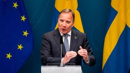 Swedish Prime Minister Stefan Lofven gesticulates while speaking at a press conference about the situation of the novel coronavirus COVID-19 pandemic, at the government headquarters in Stockholm, Sweden, on May 29, 2020. (Photo by Jonathan NACKSTRAND / AFP) (Photo by JONATHAN NACKSTRAND/AFP via Getty Images)