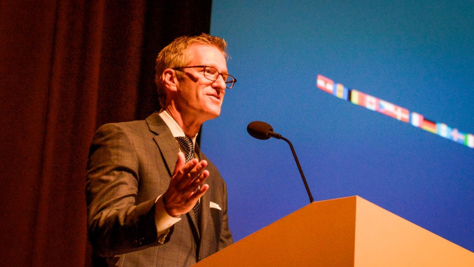 Portland, Oregon Mayor Ted Wheeler speaks at a trade event in Portland, Oregon, United States on 16th May, 2018. (Photo by Anthony Pidgeon/Redferns)