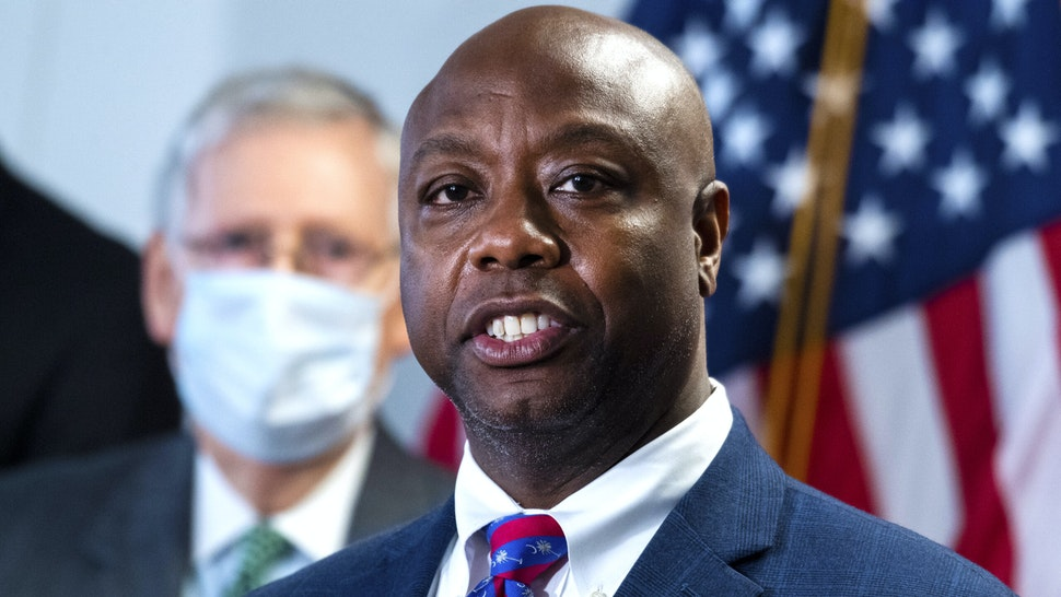 UNITED STATES - JUNE 23: Sen. Tim Scott, R-S.C., right, and Senate Majority Leader Mitch McConnell, R-Ky., conduct a news conference after the Senate Republican Policy luncheon in Hart Building on Tuesday, June 23, 2020.