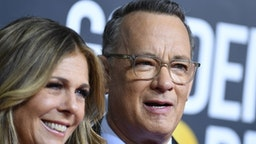 US actor Tom Hanks and wife Rita Wilson arrive for the 77th annual Golden Globe Awards on January 5, 2020, at The Beverly Hilton hotel in Beverly Hills, California.