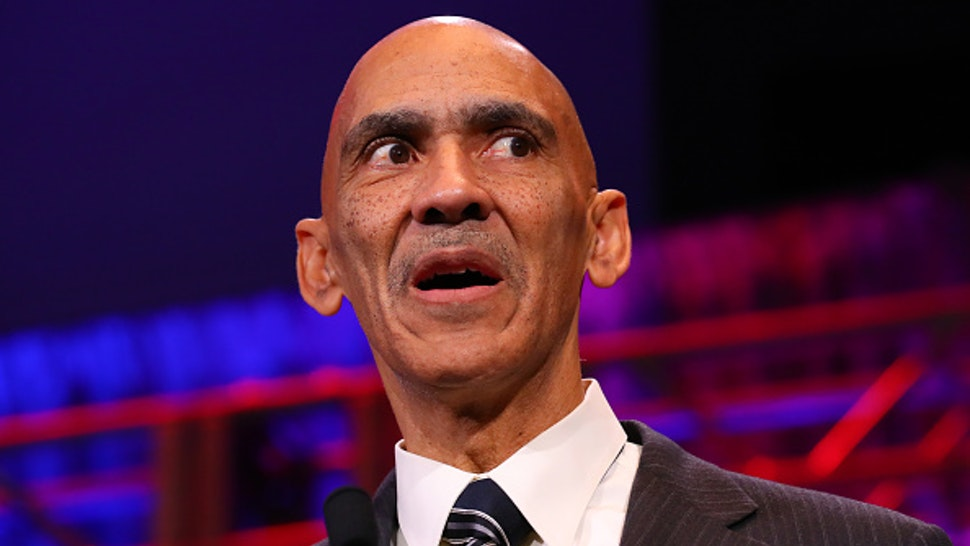 ATLANTA, GA - FEBRUARY 02: Former NFL Coach Tony Dungy speaks during the 2019 Athletes in Action/Bart Starr award at the 32nd Annual Super Bowl Breakfast during Super Bowl LIII week on February 2, 2019 at the Marriott Marquis in Atlanta, GA.