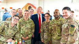 President Donald J. Trump visits troops at Bagram Airfield on Thursday, November 28, 2019, in Afghanistan, during a surprise visit to spend Thanksgiving with troops.