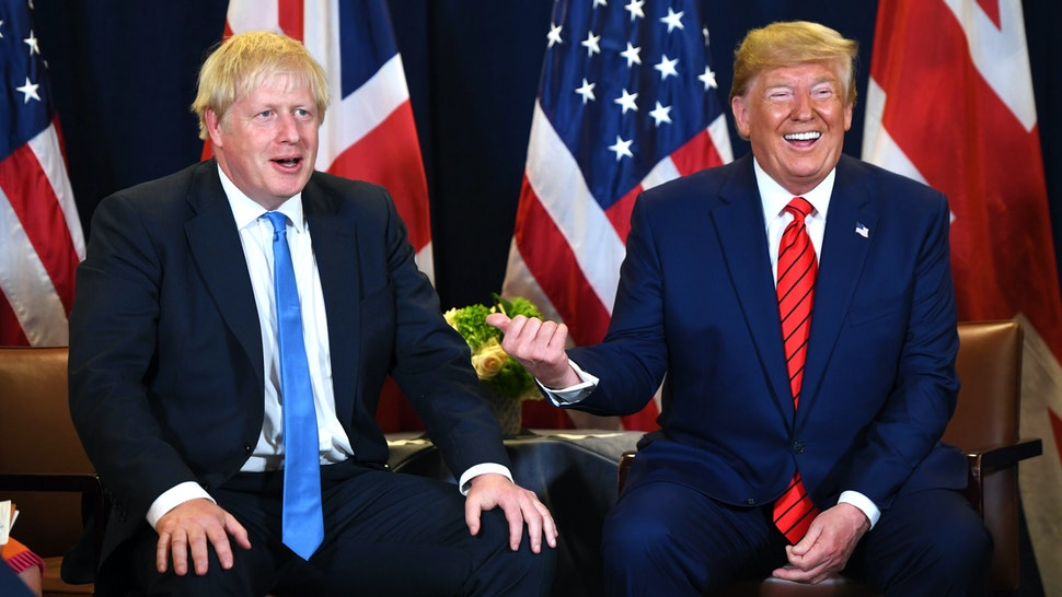 US President Donald Trump and British Prime Minister Boris Johnson hold a meeting at UN Headquarters in New York, September 24, 2019, on the sidelines of the United Nations General Assembly.