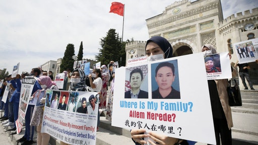 Uyghur Turks living in Istanbul gather to protest China for their family members, who have been held in Chinese camps, at Beyazit Square in Istanbul, Turkey on July 27, 2020. (Photo by Erhan Elaldi/Anadolu Agency via Getty Images)