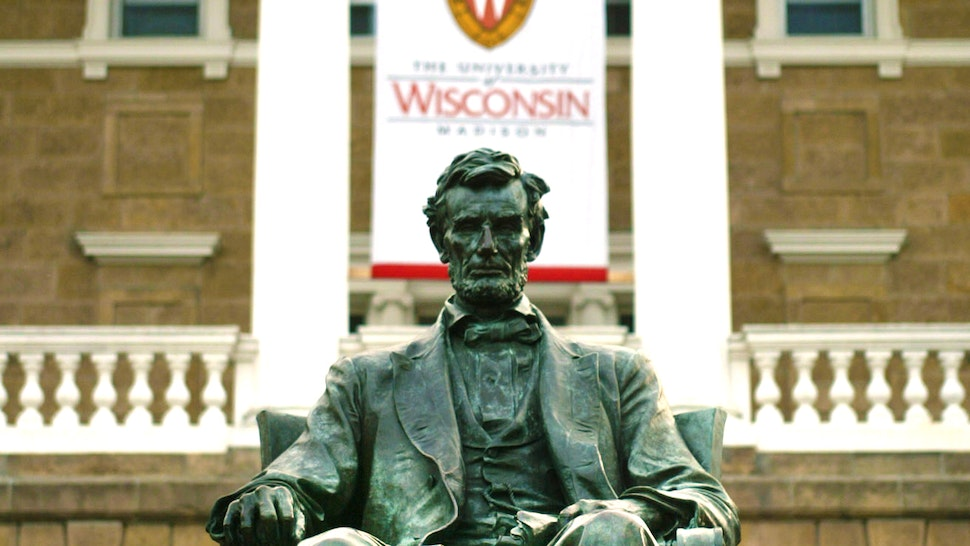 UNITED STATES - JULY 30: A statue of Abraham Lincoln sits in front of Bascom Hall, the University of Wisconsin's Administration building in Madison, Wisconsin on Friday July 30, 2004.