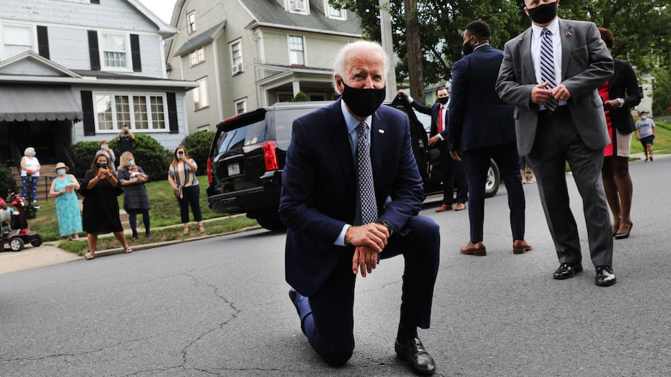 DUNMORE, PENNSYLVANIA - JULY 09: The presumptive Democratic presidential nominee Joe Biden stops in front of his childhood home on July 09, 2020 in Scranton, Pennsylvania. The former vice president toured a metal works plant in Dunmore in northeastern Pennsylvania and spoke about his economic recovery plan. With fewer than four months until the election, polls continue to show Biden leading in Pennsylvania, widely regarded as a battleground state in the race for the presidency. (Photo by