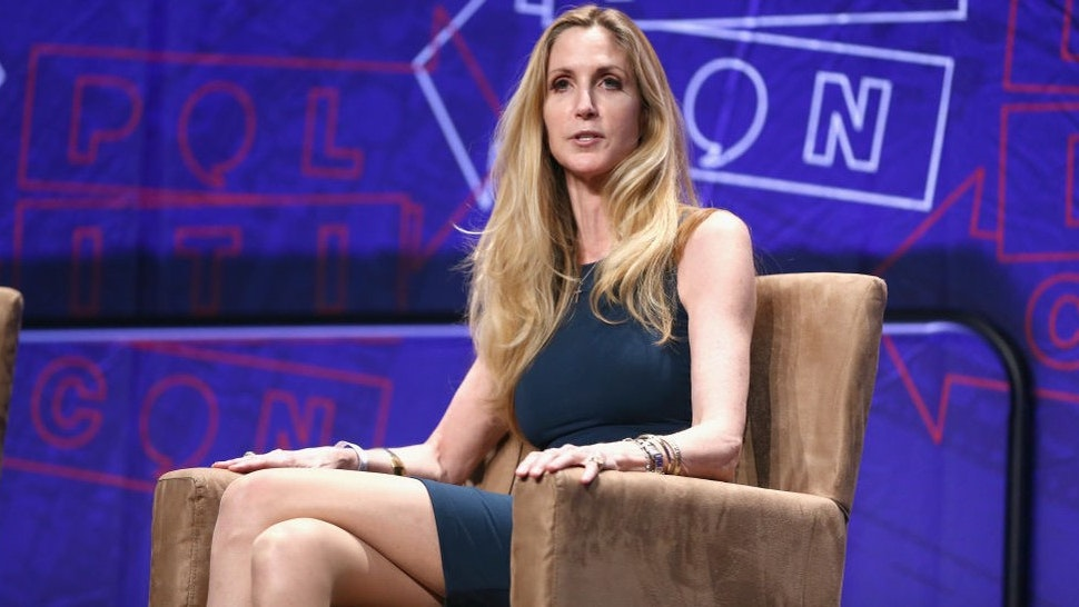 LOS ANGELES, CA - OCTOBER 20: Ann Coulter speaks onstage during Politicon 2018 at Los Angeles Convention Center on October 20, 2018 in Los Angeles, California. (Photo by