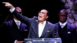 LOS ANGELES, CALIFORNIA - APRIL 11: (EDITORS NOTE: All images taken by Getty Images inside the Staples Center at Nipsey Hussle's Celebration of Life have been reviewed and approved for distribution by Atlantic Records) Honorable Minister Louis Farrakhan, National Representative of The Honorable Elijah Muhammad and The Nation of Islam, speaks onstage during Nipsey Hussle's Celebration of Life at STAPLES Center on April 11, 2019 in Los Angeles, California. Nipsey Hussle was shot and killed in front of his store, The Marathon Clothing, on March 31, 2019 in Los Angeles. (Photo by