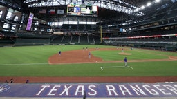 ARLINGTON, TEXAS - JULY 09: A view of the Texas Rangers during an intrasquad game during Major League Baseball summer workouts at Globe Life Field on July 09, 2020 in Arlington, Texas.