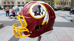 CHICAGO - APRIL 30: Washington Redskins NFL football helmet is on display in Pioneer Court to commemorate the NFL Draft 2015 in Chicago on April 30, 2015 in Chicago, Illinois. (Photo By