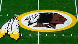 LANDOVER, MD - NOVEMBER 24: A general view of the Washington Redskins logo at center field before a game between the Detroit Lions and Redskins at FedExField on November 24, 2019 in Landover, Maryland. (Photo by