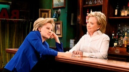 "SATURDAY NIGHT LIVE -- ""Miley Cyrus"" Episode 1684 -- Pictured: (l-r) Kate McKinnon as Hillary Clinton and Hillary Clinton as Val during the ""Bar Talk"" sketch on October 3, 2015 -- (Photo by:"