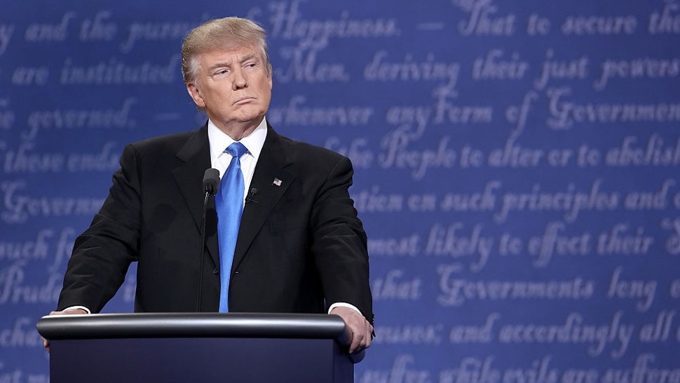 HEMPSTEAD, NY - SEPTEMBER 26: Republican presidential nominee Donald Trump stands at his podium during the Presidential Debate at Hofstra University on September 26, 2016 in Hempstead, New York. The first of four debates for the 2016 Election, three Presidential and one Vice Presidential, is moderated by NBC's Lester Holt. (Photo by