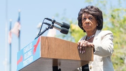 LOS ANGELES, CA - JUNE 30: Maxine Waters speaks onstage at 'Families Belong Together - Freedom for Immigrants March Los Angeles' at Los Angeles City Hall on June 30, 2018 in Los Angeles, California. (Photo by