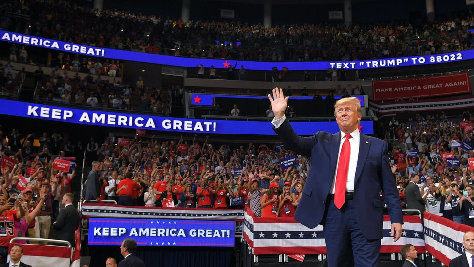 US President Donald Trump arrives to speak during a rally at the Amway Center in Orlando, Florida to officially launch his 2020 campaign on June 18, 2019.
