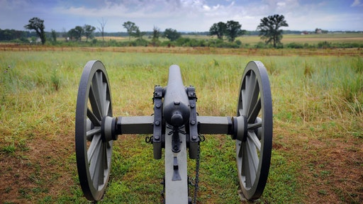 A restored canon at a Union position along Cemetery Ridge points toward the battlefield on August 13, 2010 at the Gettysburg National Military Park in Gettysburg Pennsylvania.
