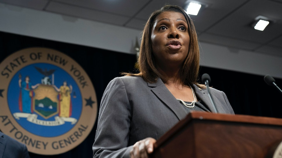New York Attorney General Letitia James speaks during a press conference, June 11, 2019 in New York City.
