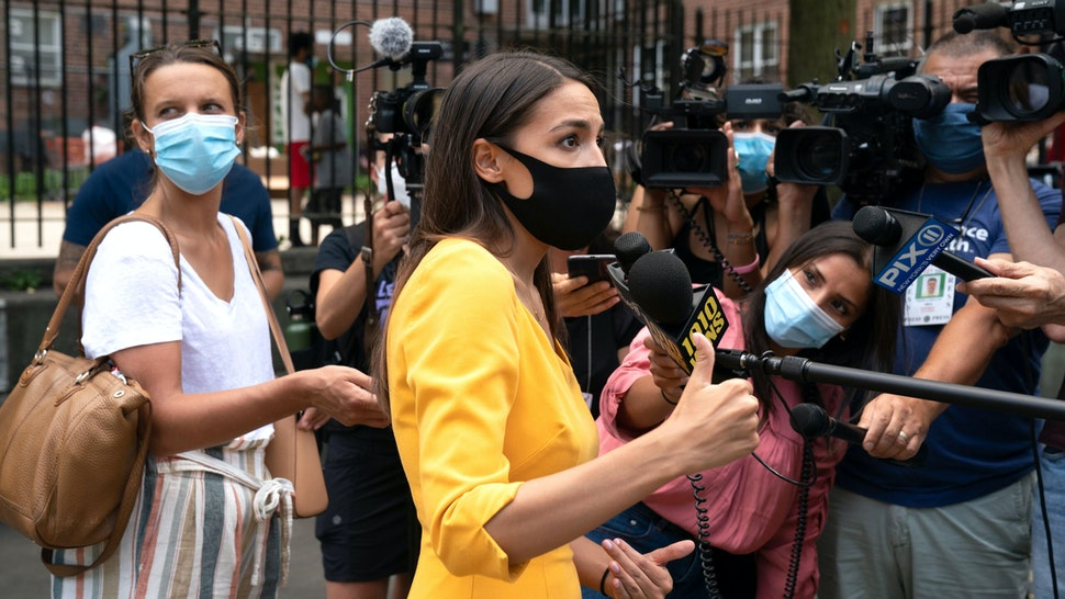 Democratic Rep. Alexandria Ocasio-Cortez, who is running for re-election, speaks with the media as she launches an effort to increase voter registration and 2020 Census participation in New York's 14th Congressional District in the Borough of Queens on August 15, 2020 in New York.