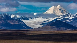 Lakes of Central Alaskan Range, Route 8, Denali Highway, Alaska, a dirt road offers stunning views of Mt. Hess Mountain, Mt. Hayes and Mt. Debora.