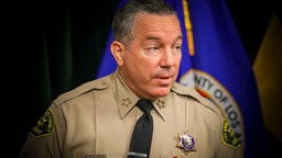 LOS ANGELES, CA - AUGUST 12: Sheriff Alex Villanueva speaks at a news conference to give an update on the fatal shooting by a deputy of Andres Guardado on June 18 near Gardena. in Hall of Justice on Wednesday, Aug. 12, 2020 in Los Angeles, CA. (Irfan Khan / Los Angeles Times)