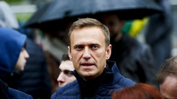 MOSCOW, RUSSIA - (ARCHIVE) : A file photo dated September 29, 2019 shows Russian opposition leader Alexei Navalny during a rally in support of political prisoners in Prospekt Sakharova Street in Moscow, Russia. Alexei Navalny is unconscious in hospital after allegedly being poisoned according to his press secretary. (Photo by Sefa Karacan/Anadolu Agency via Getty Images)