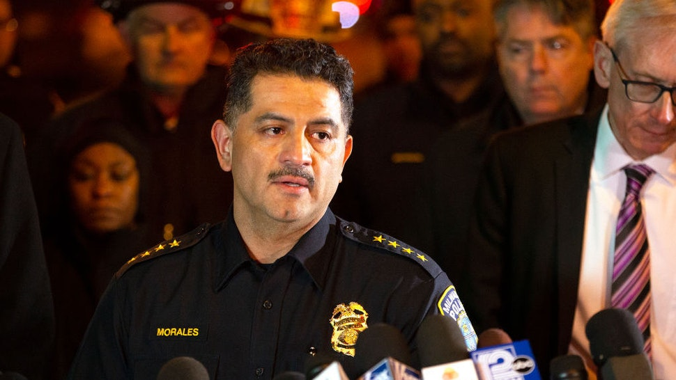 MILWAUKEE, WISCONSIN - FEBRUARY 26: Milwaukee Police Chief Alfonso Morales speaks to the media following a shooting at the Molson Coors Brewing Co. campus on February 26, 2020 in Milwaukee, Wisconsin. Six people, including the gunman, were reportedly killed when an ex-employee opened fire at the MillerCoors building on Wednesday. (Photo by Nuccio DiNuzzo/Getty Images)