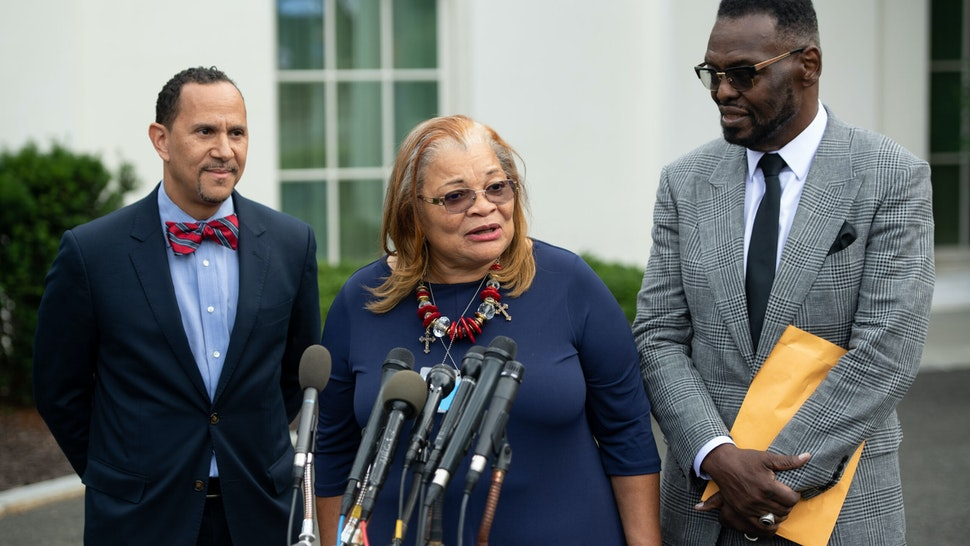 Alveda King (C), niece of Dr. Martin Luther King Jr., speaks following a meeting with US President Donald Trump and other faith-based inner-city leaders at the White House in Washington, DC on July 29, 2019.