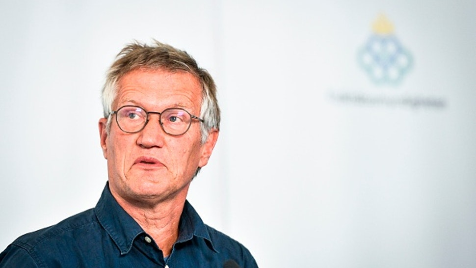 State epidemiologist Anders Tegnell of the Public Health Agency of Sweden speaks during a news conference on updated recommendations to curb the spread of the novel coronavirus that can cause the Covid-19 disease, on July 30, 2020 in Stockholm
