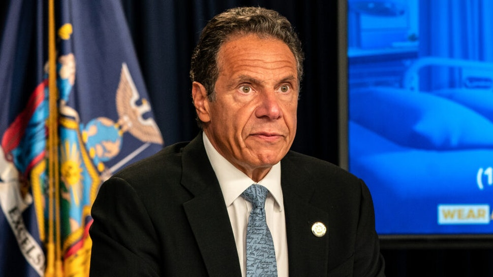 Andrew Cuomo speaks during the daily media briefing at the Office of the Governor of the State of New York on July 23, 2020 in New York City. The Governor said the state liquor authority has suspended 27 bar and restaurant alcohol licenses for violations of social distancing rules as public officials try to keep the coronavirus outbreak under control.