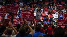 Republican Presidential candidate Donald Trump addresses supporters at the James A. Rhodes Arena on August 22, 2016 in Akron, Ohio.